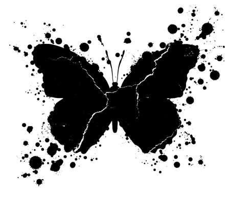 Black grunge butterfly shape with drops of paint blobs splattered around isolated on white background. Illustration