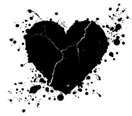 Black grunge heart shape with drops of paint blobs splattered around isolated on white background.