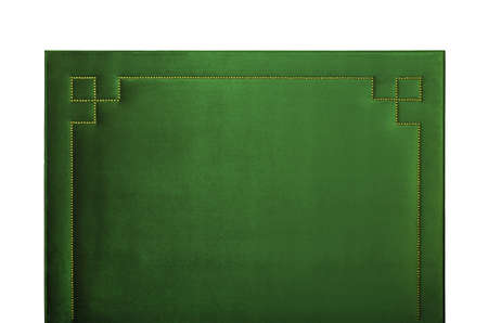 Green soft velvet bed headboard isolated on white background, front view