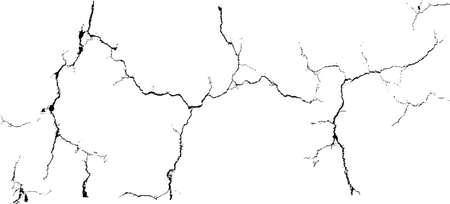 Groupe de vecteur de fissures grunge branche noire isolé sur fond blanc Vecteurs