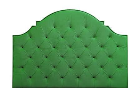Shaped freen soft velvet fabric capitone bed headboard of Chesterfiels style sofa isolated on white background, front view