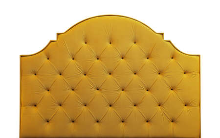 Shaped vivid yellow soft velvet fabric capitone bed headboard of Chesterfiels style sofa isolated on white background, front view