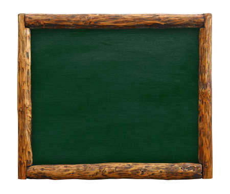 Old vintage green chalkboard empty blank sign with grunge brown aged rustic wooden  log border frame, isolated on white