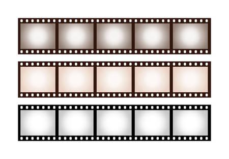 Gros plan sur trois bandes de cinq images de film 35 mm classique avec vignette aux tons vintage ombragée isolé sur fond blanc Vecteurs