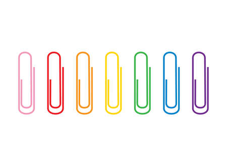 Vector illustration of seven colorful  paper clips of different rainbow colors