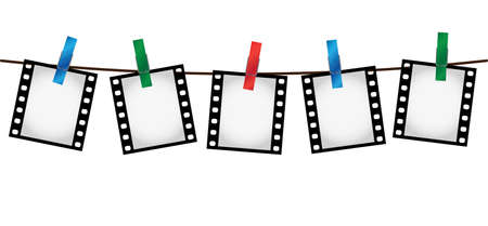 Vector illustration of five empty blank photo 35 mm film slides hanging on a rope with colorful clothespins over white background