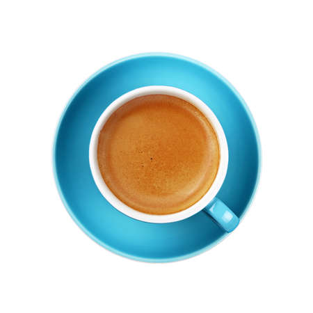 Full cup of espresso coffee on blue saucer isolated on white background, close up, elevated top view, directly above