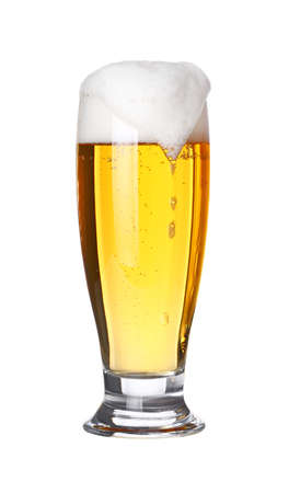 Close up one full high glass of lager beer with froth and bubbles isolated on white background, low angle side view 스톡 콘텐츠 - 112921400
