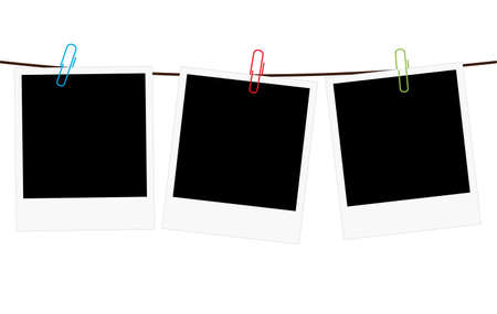 Vector illustration of three empty blank photo polaroid frame slides hanging on a rope with colorful paperclips over white background