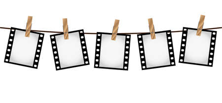 Vector illustration of five empty blank photo 35 mm film slides hanging on a rope with wooden clothespins over white background