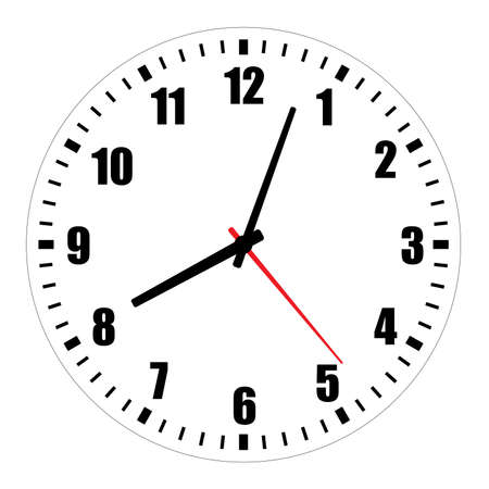 Vector illustration of blank clock face dial with Arabic numerals, hour, minute and second hands isolated on white background