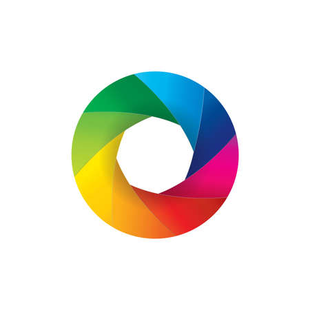Vektor-Illustration der regenbogenfarbenen Kamera-Objektivverschluss offene Blende isoliert auf weißem Hintergrund