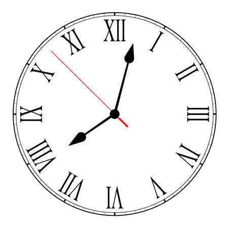 Vector illustration of blank clock face dial with Roman numerals, hour, minute and second hands isolated on white background