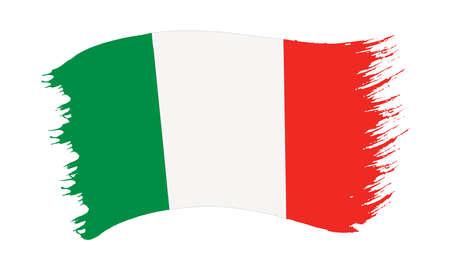 Illustrazione vettoriale di pennellata dipinta bandiera nazionale d'Italia isolato su sfondo bianco Vettoriali