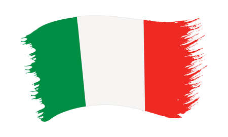 Vector illustration of brushstroke painted national flag of Italy isolated on white background Vector Illustratie