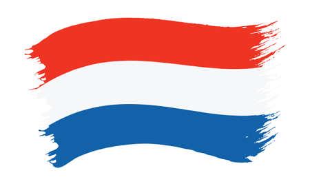 Vector illustration of brushstroke painted national flag of Netherlands isolated on white background