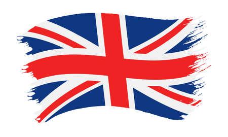 Illustrazione vettoriale di pennellata dipinta bandiera nazionale del Regno Unito, Union Jack, isolato su sfondo bianco