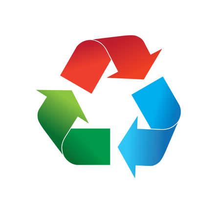 Mehrfarbige rote, grüne und blaue Recycling-Logo-Symbol-Vektor-Illustration, isoliert auf weißem Hintergrund