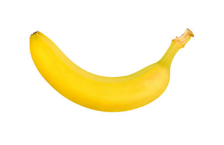 Close up one fresh ripe yellow banana isolated on white background, elevated top view 스톡 콘텐츠