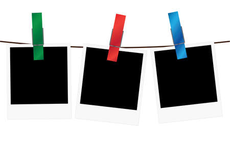 Vector illustration of three empty blank photo frame slides hanging on a rope with colorful clothespins over white background