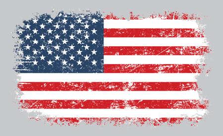 Illustration vectorielle de grunge vieux drapeau américain en détresse isolé sur fond gris Vecteurs