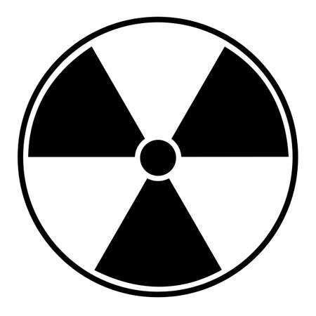 Vector illustration of black radioactive hazard warning sign on white background