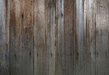 Close up background texture of old vintage rustic weathered wooden panel with vertical planks
