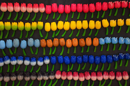 Selection of colorful multicolored tulip flower shaped fridge magnets at retail souvenir display in Amsterdam, Netherlands
