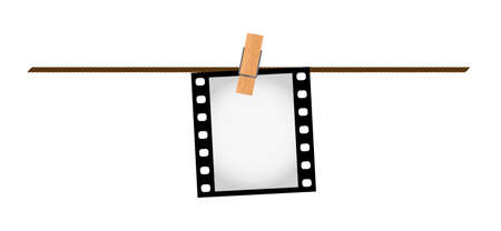 Vector illustration of one empty blank photo 35 mm film slide hanging on a rope with wooden clothespins over white background