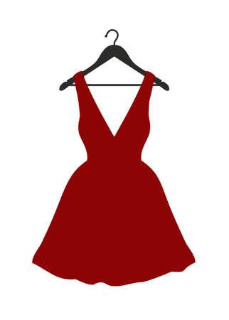 Illustration vectorielle de petite robe rouge accrochée à un cintre noir sur blanc Vecteurs