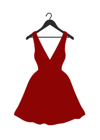 Vector illustration of little red dress hanging on black clothes hanger over white