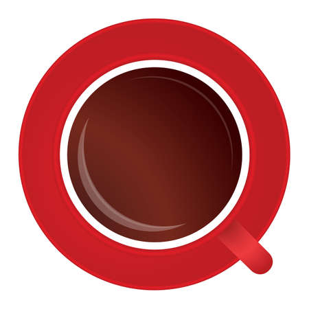 Vector illustration of full cup of black tea or coffee on red porcelain saucer isolated on white background, elevated top view, directly above