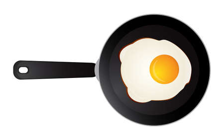 Vector illustration of cooking one sunny side fried egg on skillet frying pan, elevated top view, directly above
