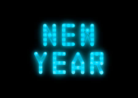 Close up blue neon glowing bright led light NEW YEAR sign on black background Imagens