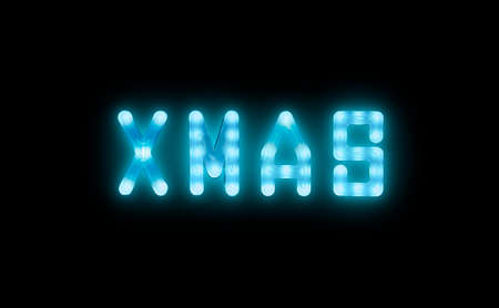 Close up blue neon glowing bright led light XMAS sign on black background