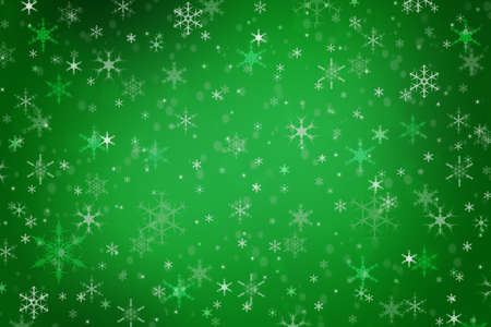 Abstract vivid green Christmas holiday winter background of falling snow bokeh and snowflakes Imagens