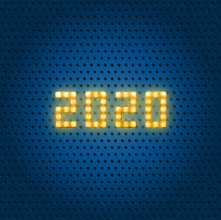 Close up yellow neon glowing bright led light 2020 sign on dotted blue background with copy space Imagens