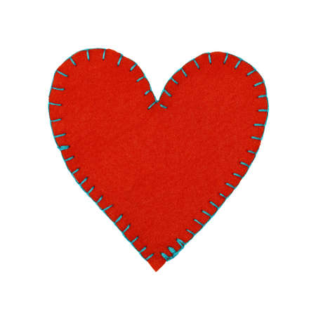 Close up one red felt stitched toy heart isolated on white background Stok Fotoğraf