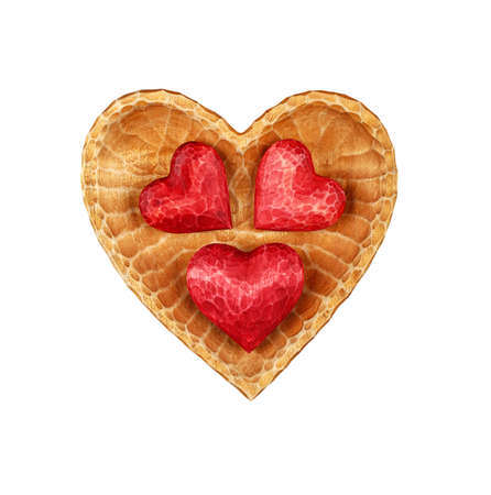 Close up three red painted natural wooden carved hearts in heart shaped bowl isolated on white background 写真素材
