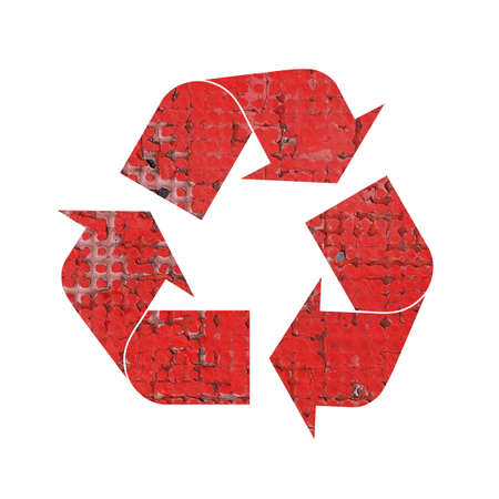 Illustration of recycling symbol with grunge red run down construction material texture isolated on white background