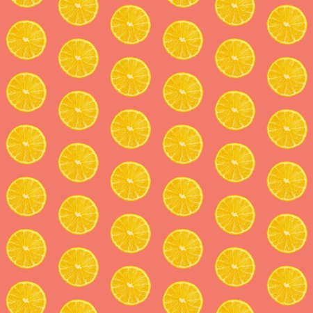 Seamless pattern of fresh ripe orange round cut wedges on coral pink background