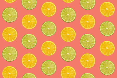 Seamless pattern of fresh ripe orange and lime round cut wedges on vivid coral pink background
