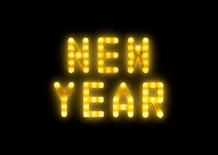 Close up yellow neon glowing bright led light NEW YEAR sign on black background Stok Fotoğraf