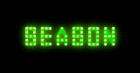 Close up green neon glowing bright led light SEASON sign on black background Stok Fotoğraf