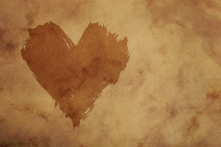 Dark painted heart with brushstroke shape over grunge brown paper background Stok Fotoğraf