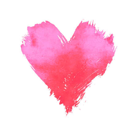 Coral pink pastel watercolor painted heart with brushstroke grunge shape and paintbrush texture isolated on white background