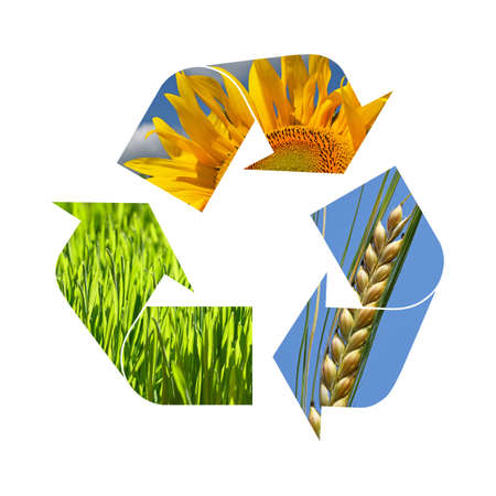 Illustration recycling symbol of agriculture crop, sunflower, wheat, grass isolated on white background Stok Fotoğraf