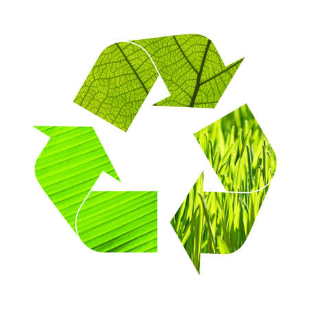 Illustration recycling symbol of green grass and leaves foliage isolated on white background 写真素材