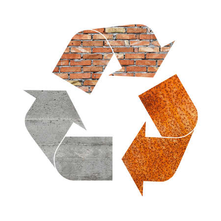 Illustration recycling symbol of different industrial construction materials, concrete, metal and bricks, isolated on white background