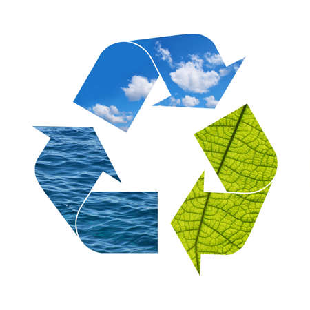 Illustration recycling symbol of nature elements, green foliage, blue sky and sea water isolated on white background 写真素材